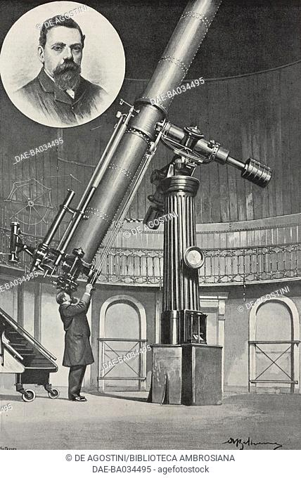 The Italian astronomer Giovanni Virginio Schiaparelli (1835-1910), inset, and the 20-inch equatorial refractor on the main tower of the Observatory of Brera