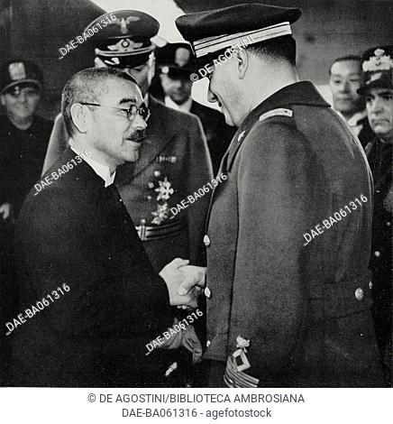 Japanese Foreign Minister Yosuke Matsuoka shaking hands with Galeazzo Ciano at the end of his visit to Rome, April 1, 1941, Italy, World War II