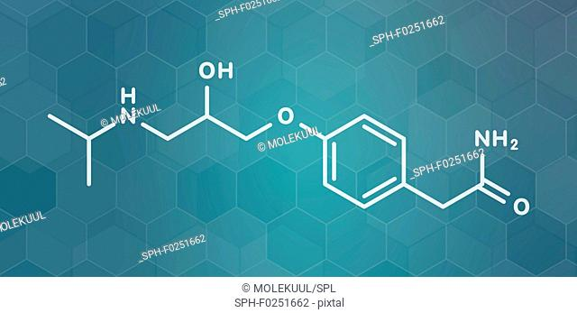 Atenolol hypertension or high blood pressure drug (beta blocker) molecule. White skeletal formula on dark teal gradient background with hexagonal pattern
