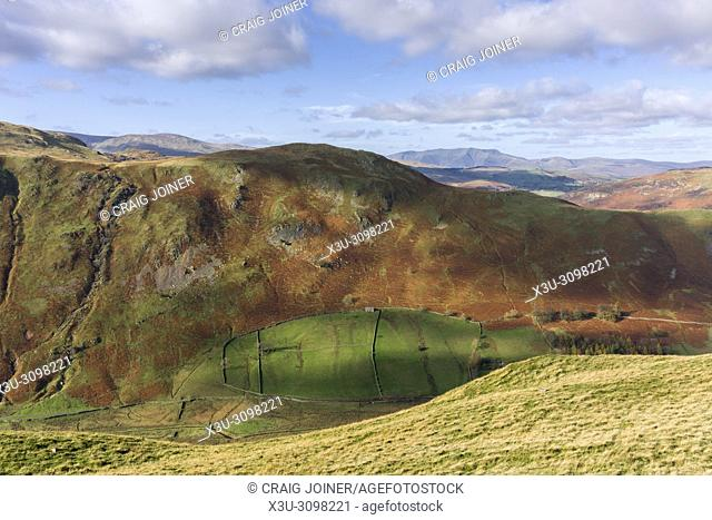 View from Beda Fell over the Boredale Valley and High Dodd on Place Fell beyond in the Lake District National Park, Cumbria, England