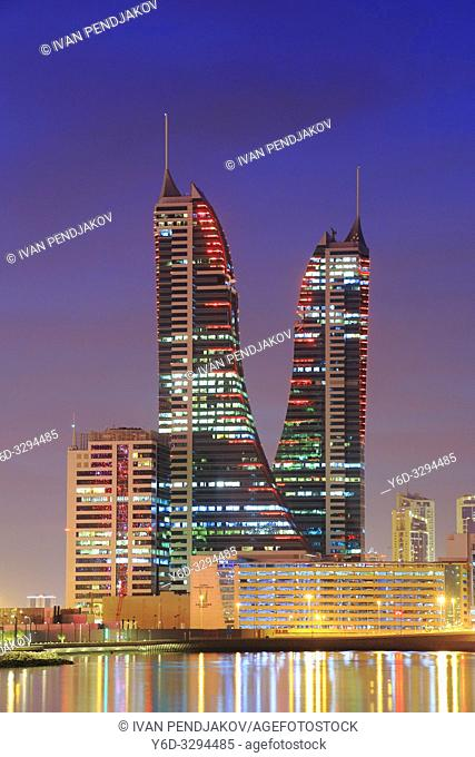 Financial Harbour Towers at Sunset, Manama, Bahrain