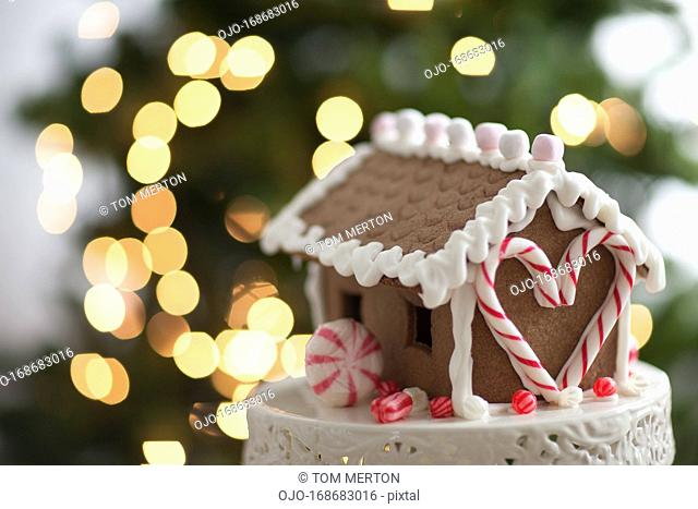 Close up of gingerbread house