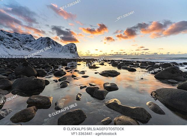 Sunset at Unstad Beach in winter. Vestvagoy municipality, Nordland county, Northern Norway, Norway