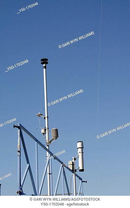 weather station with instruments outdoors in sun