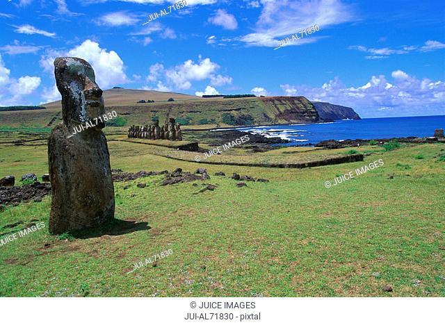 View of a moai statue on Chile, Easter Island (Rapa Nui)