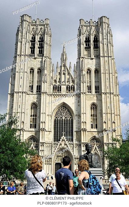 Tourists in front of the Saint Gudule and Saint Michael's Cathedral, Brussels, Belgium
