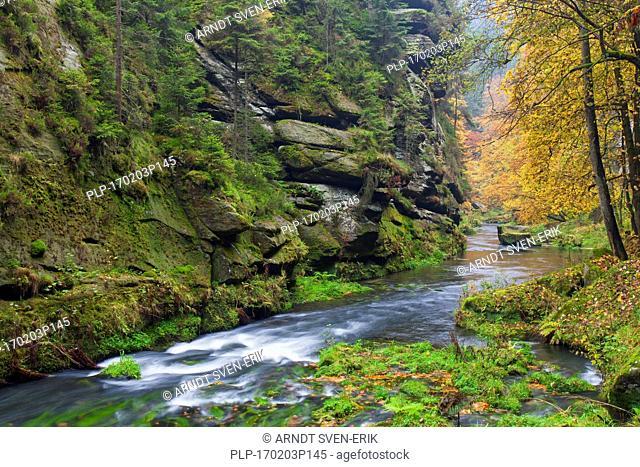 Kamnitz Gorge / Soutesky Kamenice in Bohemian Switzerland in autumn, Ústí nad Labem Region / Ústecký Region, Czech Republic