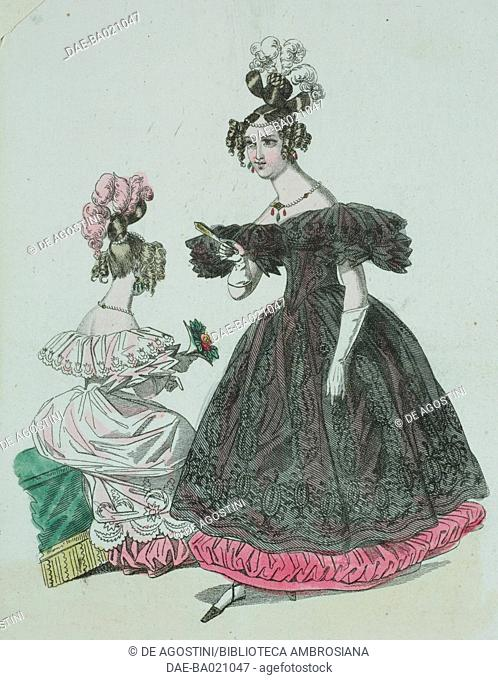 Woman wearing a black dress with embroidered decorations and white feathers in her hair, woman wearing the same dress and light pink with matching bow in her...