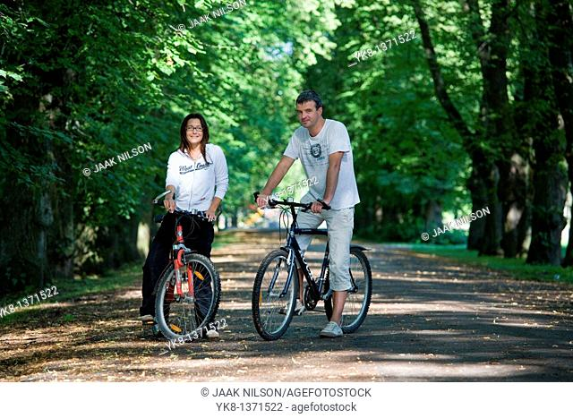 Couple in Park with Bicycles, Estonia