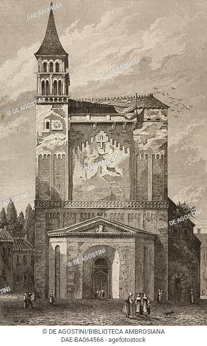 Facade of the abbey church of Saint-Philibert, Tournus, France, engraving by Lemaitre from France, deuxieme partie, L'Univers pittoresque