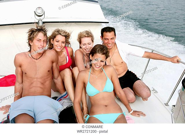 young adults, enjoying, happy, trip, yacht, portra