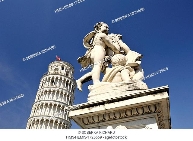 Italy, Tuscany, Pisa, Piazza dei Miracoli, listed as World Heritage by UNESCO, Tower of Pisa, Cherubim Fountain in front of the Tower of Pisa
