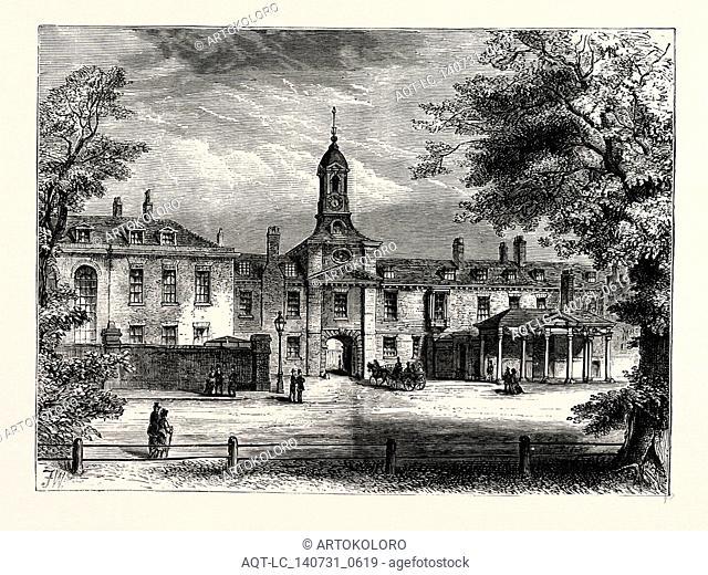WEST FRONT OF KENSINGTON PALACE, London, UK, 19th century engraving