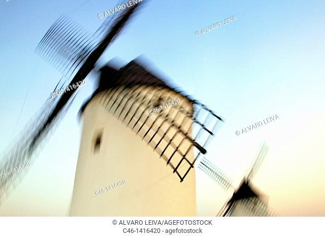 Windmills  Mota del Cuervo  Cuenca province  The Route of Don Quixote  Castilla-La Mancha  Spain
