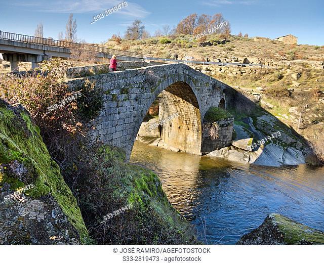 Bidge over Alberche river in Navarrevisca. Avila. Castilla Leon. Spain. Europe