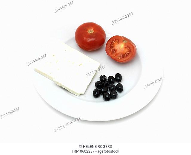 Greek Food DolmathisTomatoes Black Olives and Feta Cheese