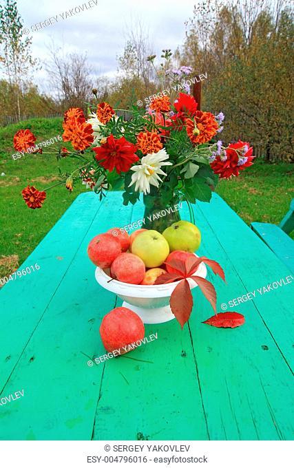 autumn still life on garden table