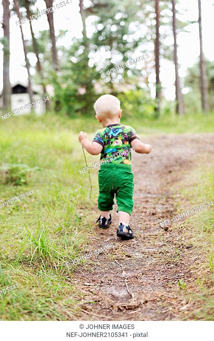 Small boy walking on path in forest