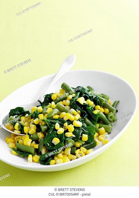 Bowl of corn and bean salad