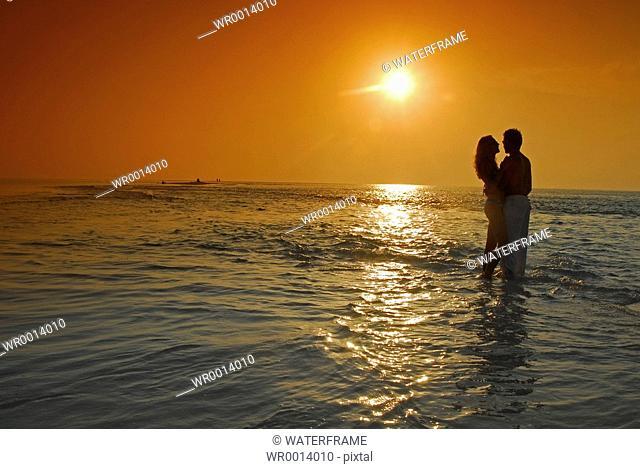 Couple at Sunset, Indian Ocean, Maldives