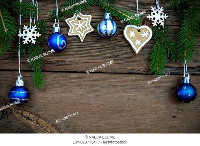 Christmas Decoration Hanging on Wood with Copy Space