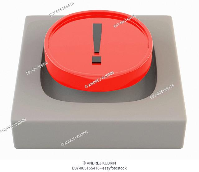 Red button with attention sign