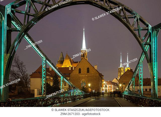 Evening at Tumski Bridge in Wroclaw, Lower Silesia, Poland