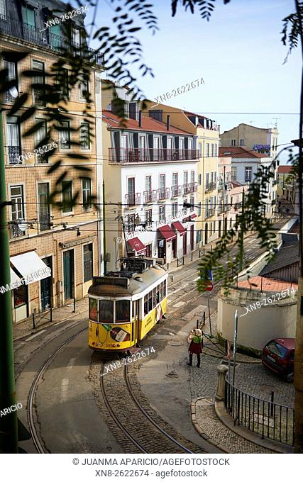 Yellow Tram in Alfama, Lisbon, Portugal