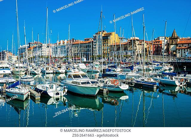 View on Old Port of Gijon. Gijón, Asturias, Spain, Europe