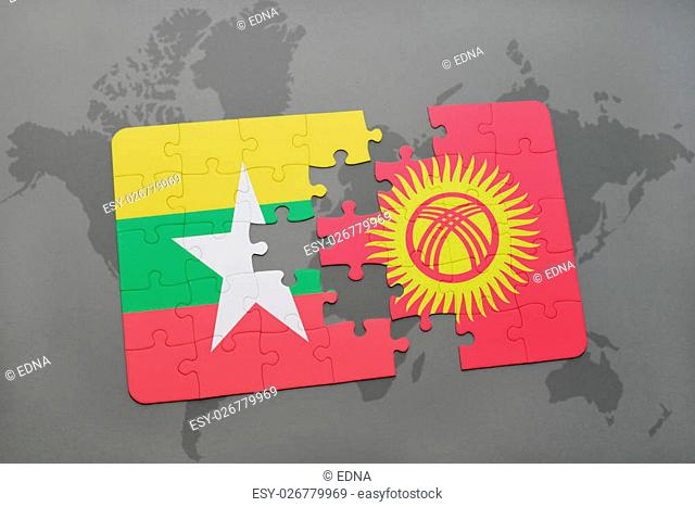 puzzle with the national flag of myanmar and kyrgyzstan on a world map background. 3D illustration