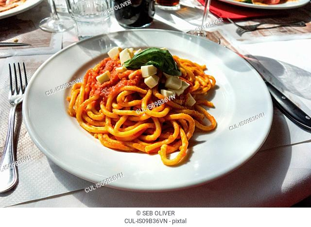 Plate of spaghetti with tomato sauce on restaurant table