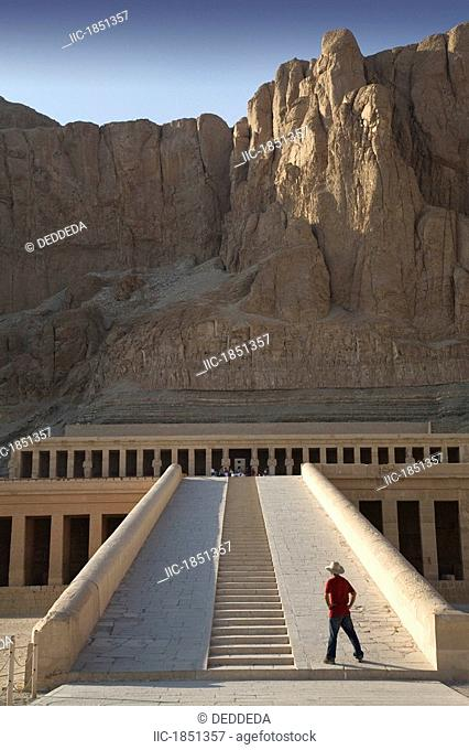 Man Looking At The Temple Of Hatshepsut