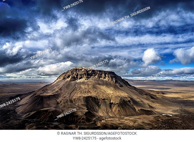Mt. Herdubreid, Central Highlands, Iceland. Mt. Herdubreid is a high table mountain in the highlands and close to Askja volcano