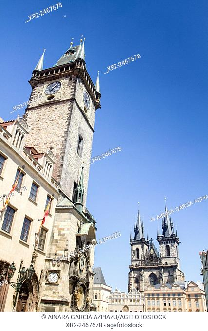 Old City Hall and Tyn church on Old Town Square, Prague, Czech Republic