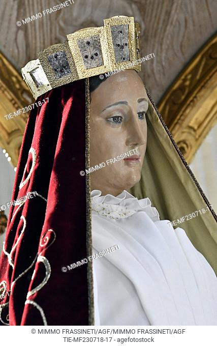The Virgin of Carmine in procession wears a dress created by Guillermo Mariotto, creative director of Maison Gattinoni, Rome, ITALY-21-07-2018