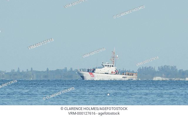 ST. PETERSBURG, FL - APRIL 22: USCGC Marlin, a Marine Protector-class coastal patrol boat, moves through Tampa Bay on April 22, 2015 in St. Petersburg