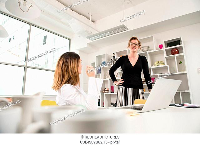Businesswomen in discussion at laptop