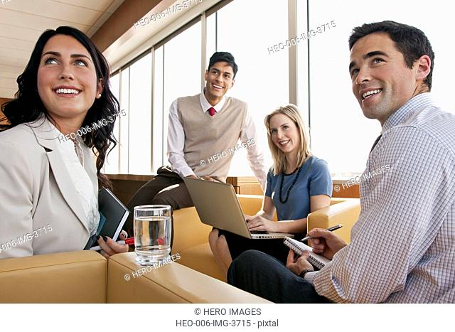 discussion with small casual office group
