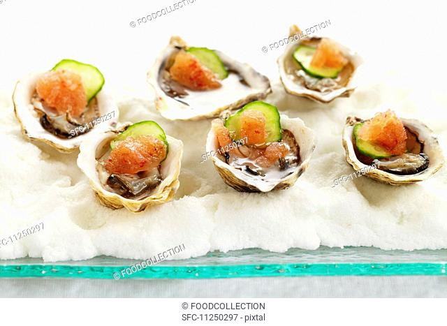 Oysters with salmon and cucumber