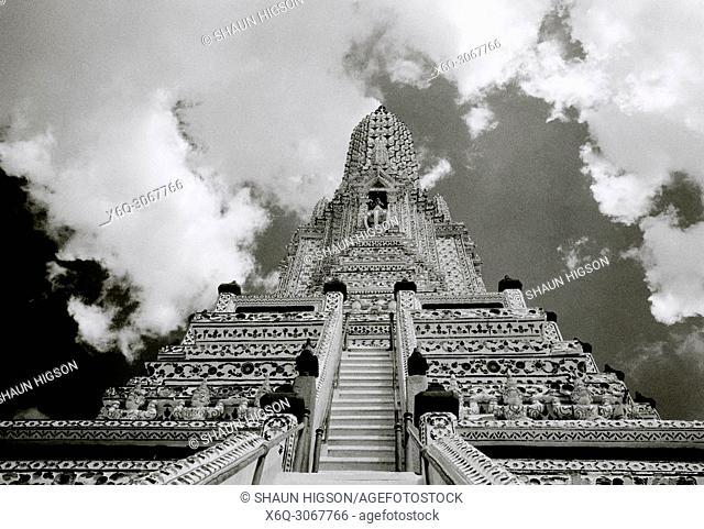 Buddhist Temple of Dawn Wat Arun Temple in Bangkok Yai on the Thonburi side of the Chao Pharaya River in Bangkok in Thailand in Southeast Asia Far East
