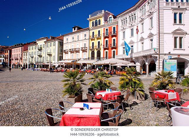 Piazza Grande, place, Locarno, canton, TI, Ticino, South Switzerland, town, city, Switzerland, Europe, street restaurant, facades