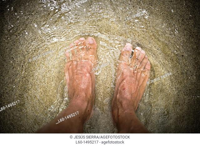 Feet in beach  Cabo de Gata, Almeria, Spain