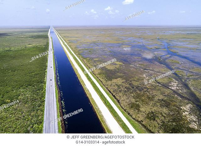 Florida, Miami, Everglades National Park, Tamiami Trail US route 41 highway, canal, levee dike, water conservation area 3A, Francis S