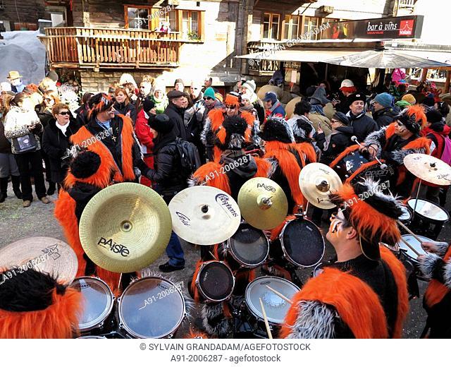 Switzerland, Valais, Herens valley, Evolene, Mardi Gras carnival