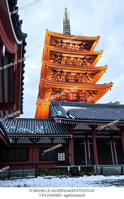 Senso-ji, Buddhist temple, pagoda, at dusk, Asakusa, Tokyo, Japan