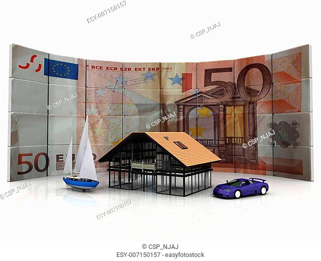 Fifty Euro bill as background with house, boat, and car