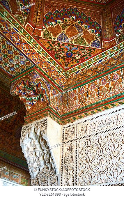 Berber Arabesque Mocarabe plasterwork pamnels and Muqarnas capitals and painted wood roof. The Petite Court, Bahia Palace, Marrakesh, Morroco