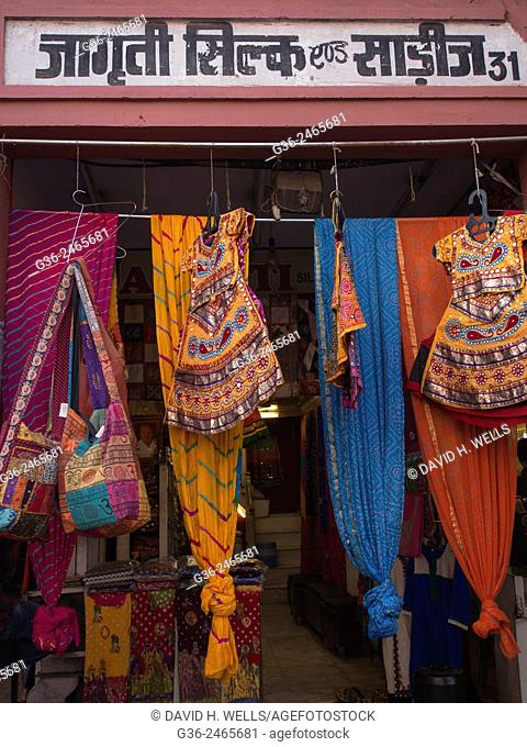 Entrance of clothing store in Jaipur, Rajasthan, India