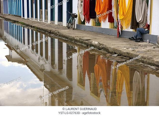 City, Puddle of Water, Paraty, Rio de Janeiro, Brazil