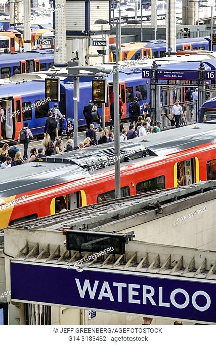 United Kingdom Great Britain England, London, Lambeth South Bank, Waterloo Station, trains, railway, train shed, platforms